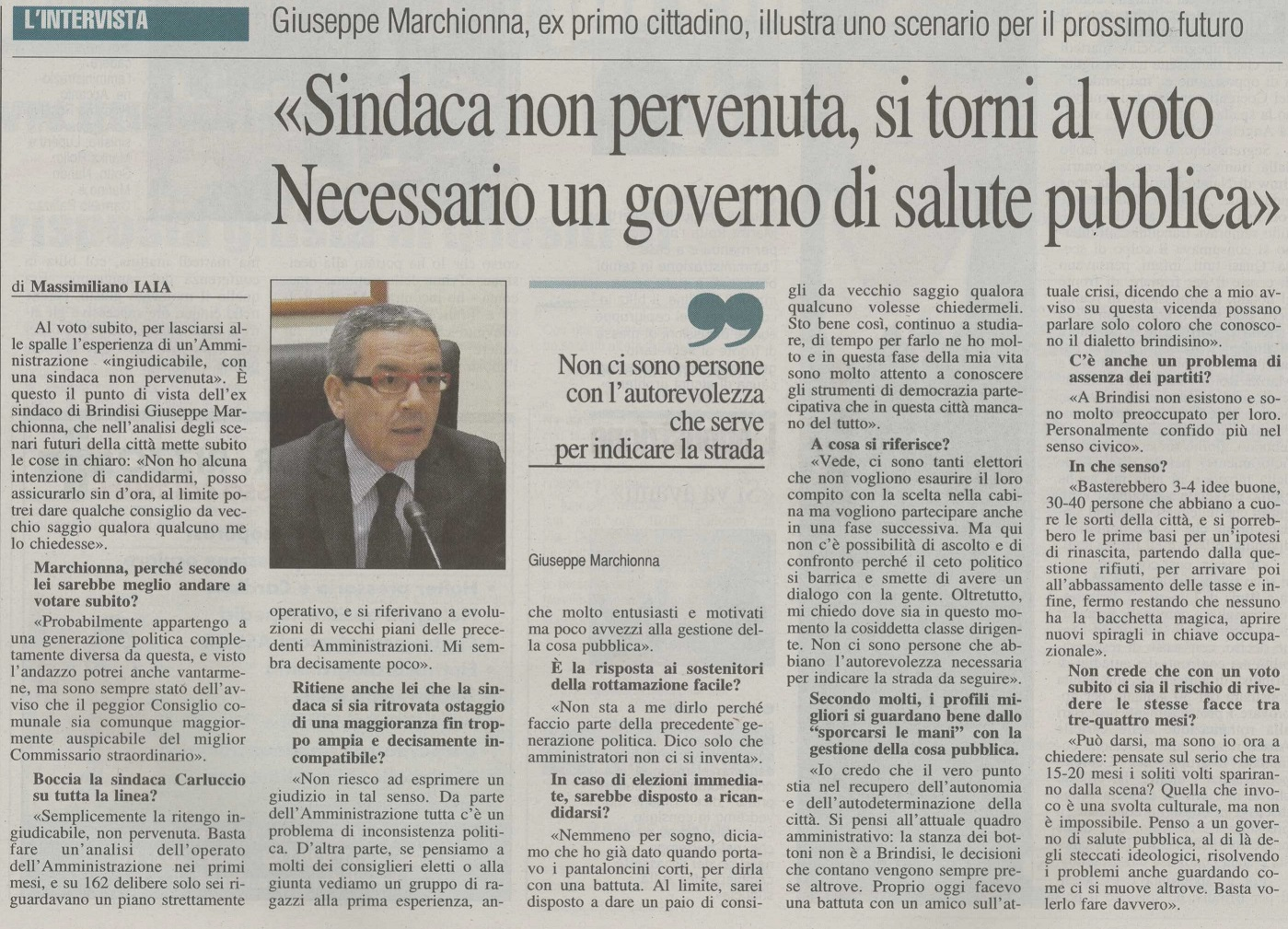 Intervista a Quotidiano di Brindisi